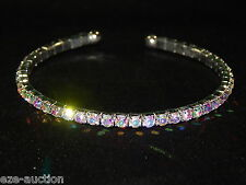 FLEXIBLE WEDDING BRIDAL SILVER W. AB IRIDESCENT RHINESTONE CRYSTAL BRACELET CUFF