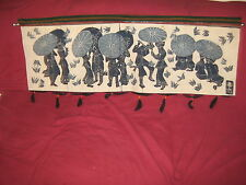 L@@K  CHINESE BLUE TEXTILE ART TAPESTRY WALL HANGING  PICNICKERS & BUTTERFLIES