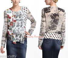 New Anthropologie In Spades Blouse by LeifNotes size 2 $138 Mixed Patterns RARE