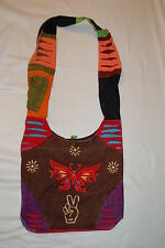 BOHO Shoulder Bag PURSE Hippy Embroidered BUTTERFLY Cell Pkt PEACE Brown Red