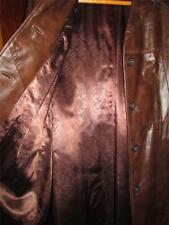 VINTAGE QUALITY LINED LADIES SIZE 18 BROWN LEATHER TRENCH COAT FREE US SHIPPING