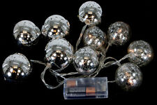 Silver Mercury String Light Ornaments Battery Operated Set of 10 Warm White