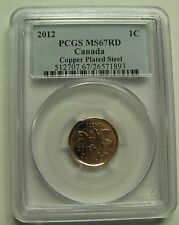 2012 PCGS MS67 1 cent RD Copper Plated Steel (Red Magnetic) Canada one penny