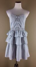 Kimchi Blue Dress L Tiered Strapless Padded Bust Lace Up Corset Dress Smocked