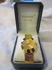 Omax Modern Gold Tone Designer Style Watch - Quartz Water Resistant MB919 w Box