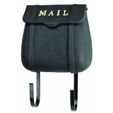Black Saddle Bag Cast Iron Mailbox Letter Post Wall Mount Pony Express MAIL