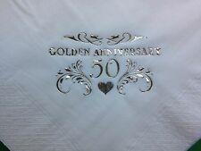 40 GOLDEN 50TH WEDDING ANNIVERSARY WHITE 2PLY BUFFET NAPKINS GOLD DESIGN