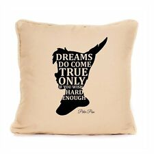 Decorative Peter Pan Inspired Cotton Cushion Dreams Do Come True Quote Home Gift