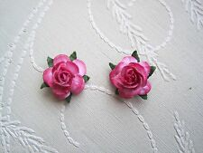 *OMBRE HOT PINK ROSE* STUD SILVER PLATED 15mm Earrings Rockabilly Gothic NEW