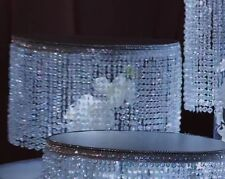 "Beaded Crystal 14"" round tier ,with acrylic diamond cut For Cake Stand"