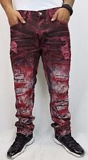 New Men's Makobi Red Paint Splatter Destroyed Ripped Jeans Size 38x32 Brand New!