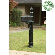 Mailbox Post Combo Plastic Black Vintage Residential Rural Victorian Mail Mount