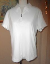 NIKE Fit Dry Polo White Short Sleeve Top Shirt Golf Tennis Large L 12 14 New NWT