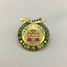 VINTAGE ALEPPO TEMPLE SHRINERS ENAMELED MEDAL COAST TO COAST 91