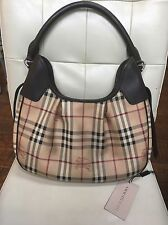 Burberry Haymarket Check Leather Trim Hobo Handbag - NEW w/Tags