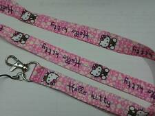 Rare Flower Hello Kitty Hand Cell Phone Strap ID Buckle Clip Belt Neck Lanyard