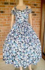 RARE Vtg LAURA ASHLEY Floral Lavender OFF SHOULDER Tea Party FULL SKIRT Dress 10