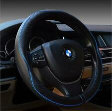Car Truck Genuine leather Embossing Steering Wheel Cover Winter 38cm Blue