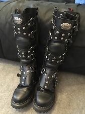 DEMONIA GRAVEL 22 LACE UP BLACK LEATHER KNEE BOOT WITH STRAP PANELS
