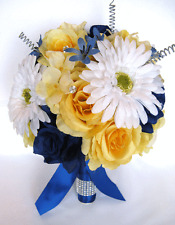 17 pc set Wedding Bouquets Silk Flower Bridal bouquet YELLOW ROYAL WHITE Daisy