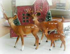 3 pc vintage DEER FAMILY BROWN buck doe fawn plastic reindeer 2-3 in