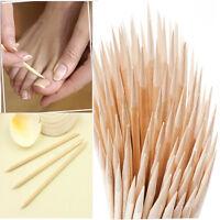 Orange Wood Sticks 100X Cuticle Pusher Remover Pedicure Manicure Tool Nail Art