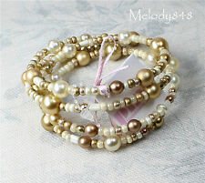 Hand Crafted Bride Swarovski Glass Pearl Bead Wrap Bracelet Cream/Gold GIFT BOX