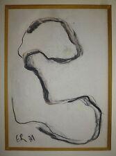 Engel Pak Ernest fusain pastel sur papier signée datée art abstrait abstraction