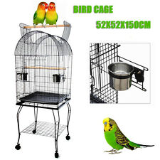 Parrot Aviary Bird Cage Pet Budgie Canary Parakeet Stand Wheel 52X52X150cm