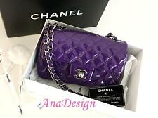 Authentic Chanel Classic Mini Rectangular Purple Patent Messenger Bag SHW NEW!