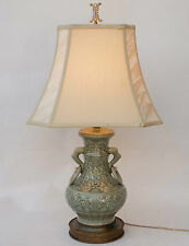 Chinese Porcelain CELADON Green Vase Fish Handled LAMP Embossed Symbols