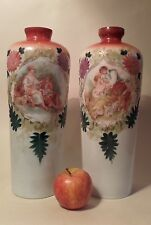 Antique Pair of Victorian Opaline Glass Vases with Lovers