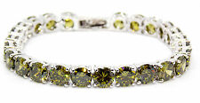 18kt White Gold Plated Peridot 27ct Tennis Bracelet