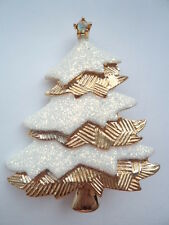 Vintage Signed Danecraft Goldtone/White Sparkling Christmas Tree Brooch