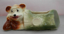 Antique / Vintage Art Pottery Planter - Whimsical Bear in a Log - pre 60's