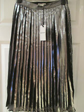 WHISTLES Metallic pleat skirt silver and black Size UK 6 EU 34 BNWT