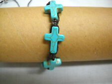TURQUOISE BLUE HOWLITE 4 CROSS on CHOCOLATE BROWN MACRAME ADJ BRACELET OR ANKLET