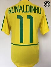 RONALDINHO #11 Brazil World Cup 2002 Nike Home Football Shirt Jersey (S)