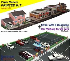 Inkjet Printed Kit 1:64 3D Paper Model City 4X Buildings +Parking for 36 HW Cars