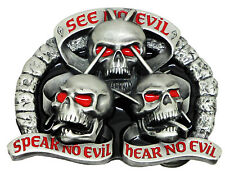 Skull Belt Buckle See Hear Speak No Evil Dark Gothic Official Branded Product