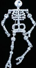 "SILVER TONE RHINESTONE HALLOWEEN GHOST SKELETON PIN BROOCH JEWELRY 4"" MOVABLE"
