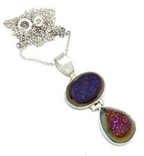 Purple Titanium Druzy Quartz With Chain Pendant Solid 925 Silver Jewelry IP26971