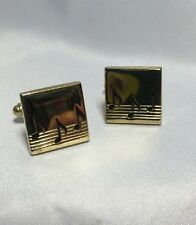 Vintage Gold Tone & Black Music Note Clef Square Shaped CUFFLINKS