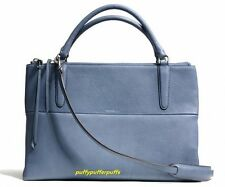 NWT COACH Pebbled Borough Bag Silver Washed Chambray F28160
