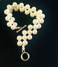 Cream Pearl Beads Pattern Bracelet Wedding Party Christmas Gift