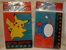 NEW Set Of 8 Pokemon Invitations & Thank You Cards American Greetings