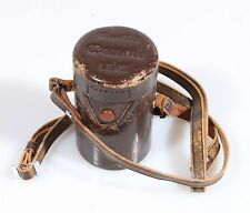 CANON SCREW MOUNT 100MM F 3.5 BROWN LEATHER LENS CASE, CASE ONLY
