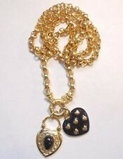 Signed Joan Rivers Gold Tone Rolo Chain Dangle Heart Pendant Charm Necklace
