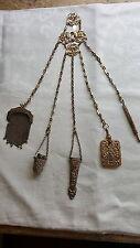 Placa de Plata Vintage Estilo Victoriano artesanías Antiguo G hombre Chatelaine Conjunto