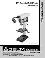 """Delta Shopmaster DP200 10"""" Drill Press Instruction Manual"""